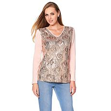 Joan Boyce Long-Sleeve Feather Design Sequin Top