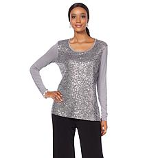 Joan Boyce Long-Sleeve Mesh Front Sequin Top