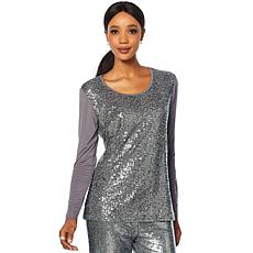 Joan Boyce Long-Sleeve Scoop-Neck Sequin Top