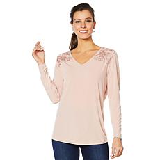 Joan Boyce Matte Jersey Sequin Lace Top