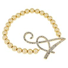 Joan Boyce Pavé Initial Beaded Stretch Bracelet