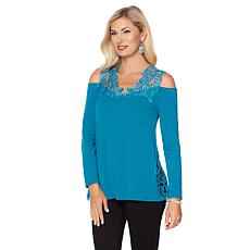 Joan Boyce Reversible Cold-Shoulder Lace Top