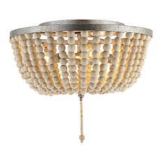 "Jonathan Y Allison 15"" Wood Beaded/Metal LED Flush Mount"