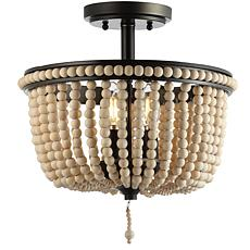 "JONATHAN Y Black Light Taupe Allie 14"" Wood Beaded Metal Flush Mount"