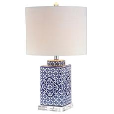 "JONATHAN Y Blue and White Choi 23"" Chinoiserie LED Table Lamp"