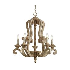 """Jonathan Y Brown Oria 5-Light 27"""" Wood/Iron Scrolled LED Chandelier"""