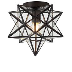 "Jonathan Y Stella 9.75"" Moravian Star Metal Glass LED Flush Mount"