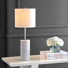 "JONATHAN Y White Chrome Aksel 25.5"" Marble LED Table Lamp"