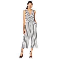 Jones New York Linen-Blend Cropped Pant Jumpsuit - Missy