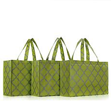 JOY Huggable Hangers® Set of 3 Metallic Print Tote Bags - Chrome