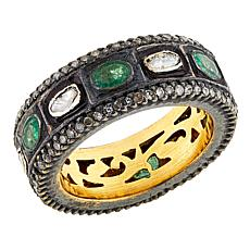 Joya Goldtone Sterling Silver 2.29ctw Emerald and Diamond Band Ring