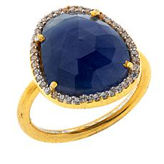 Joya Goldtone Sterling Silver Sapphire and CZ Pavé Freeform Ring