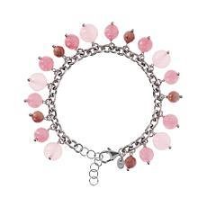 Joyelle Sterling Silver Gemstone Dangle Bracelet