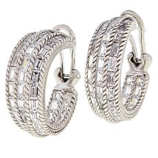 Judith Ripka 12.1ctw Baguette-Cut Diamonique® Hoop Earrings