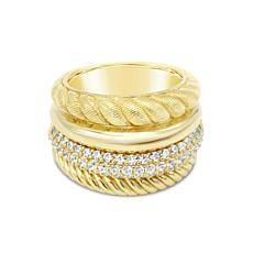 Judith Ripka 14K Gold Clad Diamonique® Multi-Row Band Ring
