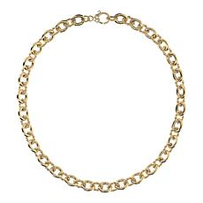 """Judith Ripka 14K  Gold Clad Shiny and Striped Oval Link Necklace - 16"""""""