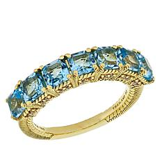 Judith Ripka 2.81ctw Blue Topaz 7-Stone Ring with Diamonique® Accents