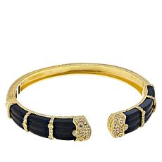 Judith Ripka Black Onyx and Diamonique® Hinged Cuff Bracelet