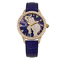 Judith Ripka Diamonique® Emily Elephant Leather Strap Watch