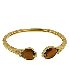 Judith Ripka Gemstone and Diamonique® Hinged Cuff Bracelet