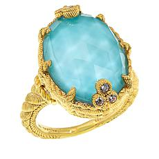 Judith Ripka Gold-Plated Oval Turquoise/Quartz Doublet Ring
