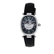 Judith Ripka Moon Phase Stainless Steel Leather Strap Watch
