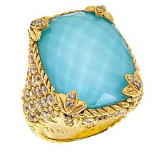 Judith Ripka Pineapple-Cut Turquoise/Quartz Doublet & Diamonique® Ring