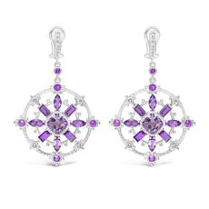 Judith Ripka Sterling Silver Amethyst and Diamonique® Dangle Earrings