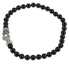 Judith Ripka Sterling Silver Black Onyx Bead and Diamonique® Necklace