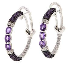 Judith Ripka Sterling Silver Colored Gemstone Hoop Earrings