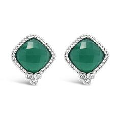 Judith Ripka Sterling Silver Diamonique® and Chalcedony Stud Earrings
