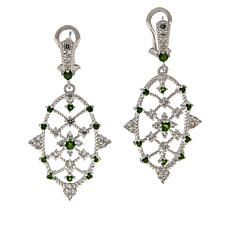 Judith Ripka Sterling Silver Diamonique® and Chrome Diopside Earrings
