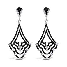 Judith Ripka Sterling Silver Diamonique® and Gem Chandelier Earrings