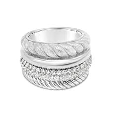 Judith Ripka Sterling Silver Diamonique® Multi-Row Band Ring