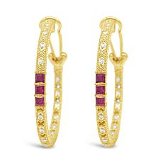 Judith Ripka Sterling Silver Diamonique® Ruby Hoop Earrings