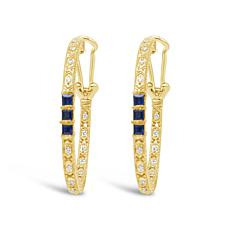 Judith Ripka Sterling Silver Diamonique® Sapphire Hoop Earrings