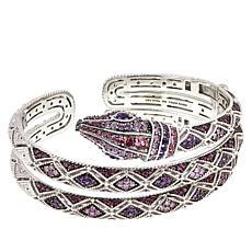 Judith Ripka Sterling Silver Multigemstone Coiled Snake Cuff Bracelet