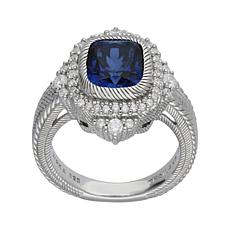 Judith Ripka Synthetic Blue Sapphire and Diamonique® Ring