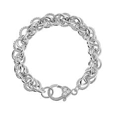 Judith Ripka Verona Sterling Silver Double Rolo Textured Link Bracelet