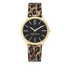 Juicy Couture Black Dial Leopard Mesh Bracelet Watch