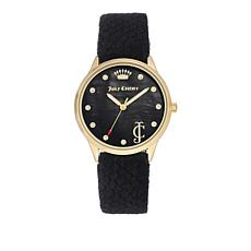 Juicy Couture Goldtone Bezel Round Dial Black Velvet Heart Charm Watch