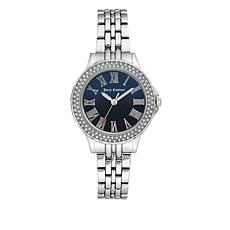 Juicy Couture Silvertone Crystal Bezel Navy Blue Dial Bracelet Watch