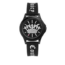 Juicy Couture Women's Black Logo Strap Sparkle Crown Watch