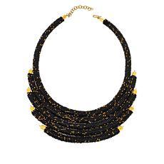 """KENDI AMANI Kanyoni 16"""" Hand-Beaded Collar Necklace"""