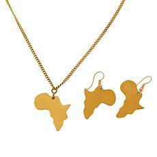 KENDI AMANI Mama Africa Goldtone Necklace and Earrings Set