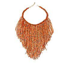 """KENDI AMANI Viki 15-1/2"""" Hand-Beaded Bib Necklace"""