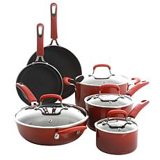 Kenmore Elite Andover 10pc Nonstick Aluminum Cookware Set - Red