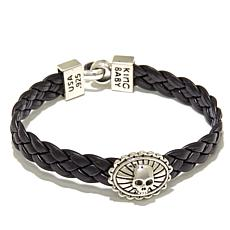 "King Baby Braided Leather Skull Charm 7-1/2"" Bracelet"