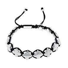 King Baby Jewelry Macrame Silvertone Crosses Bracelet