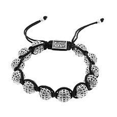 King Baby Jewelry Macrame Silvertone Flower Bracelet